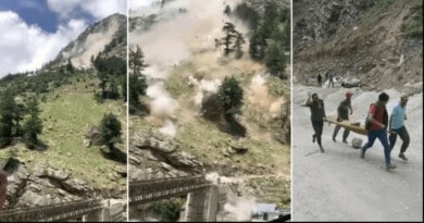[Video] Un deslizamiento de tierra mata a 9 personas en el norte de la India y destruye un puente
