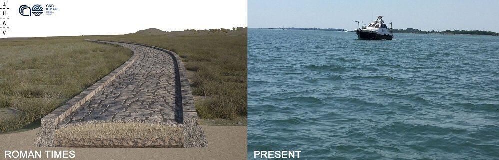 Restos de una antigua calzada romana fueron descubiertos bajo la laguna de Venecia