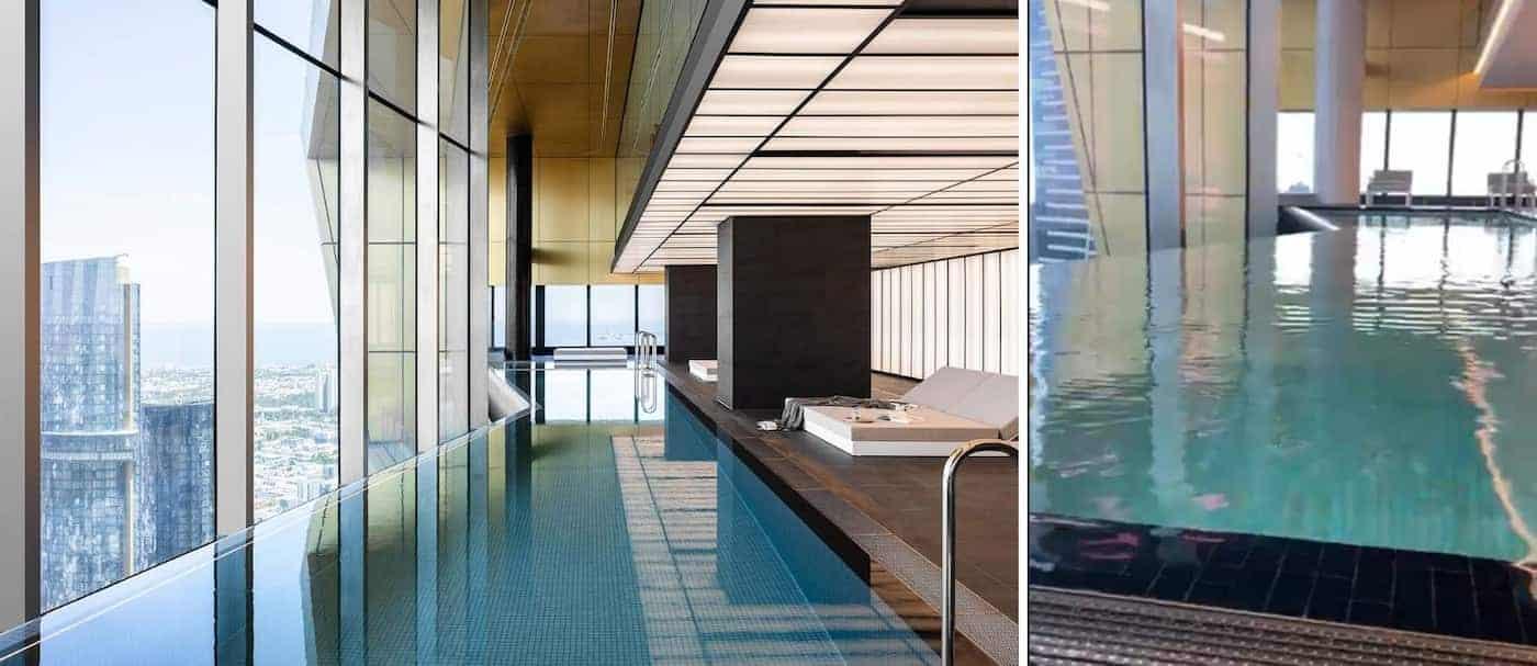 Así se balanceaba una piscina infinita en un piso 70 de Melbourne por el viento