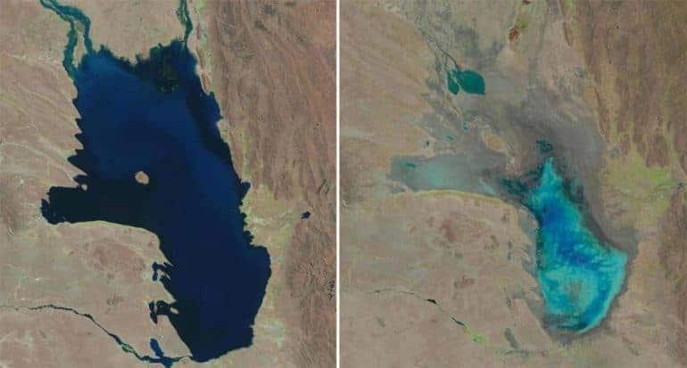 Imágenes Satelitales Del Lago En 2013 Y 2016