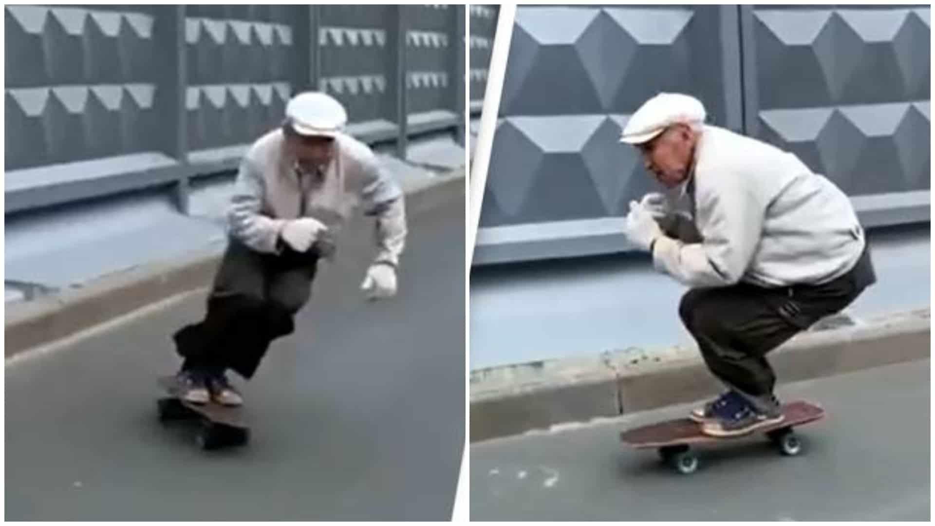 Este skater de 73 años tiene una técnica de para patinar increíble