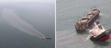 Un buque de casi 40.000 toneladas se partió en dos, causando un gran derrame de combustible