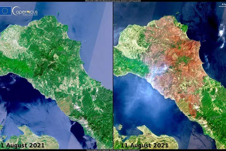 Imagen Comparativa Que Muestra El Daño De Los Incendios Forestales En Grecia Entre El 1 De Agosto Y El 11 De Agosto 2021