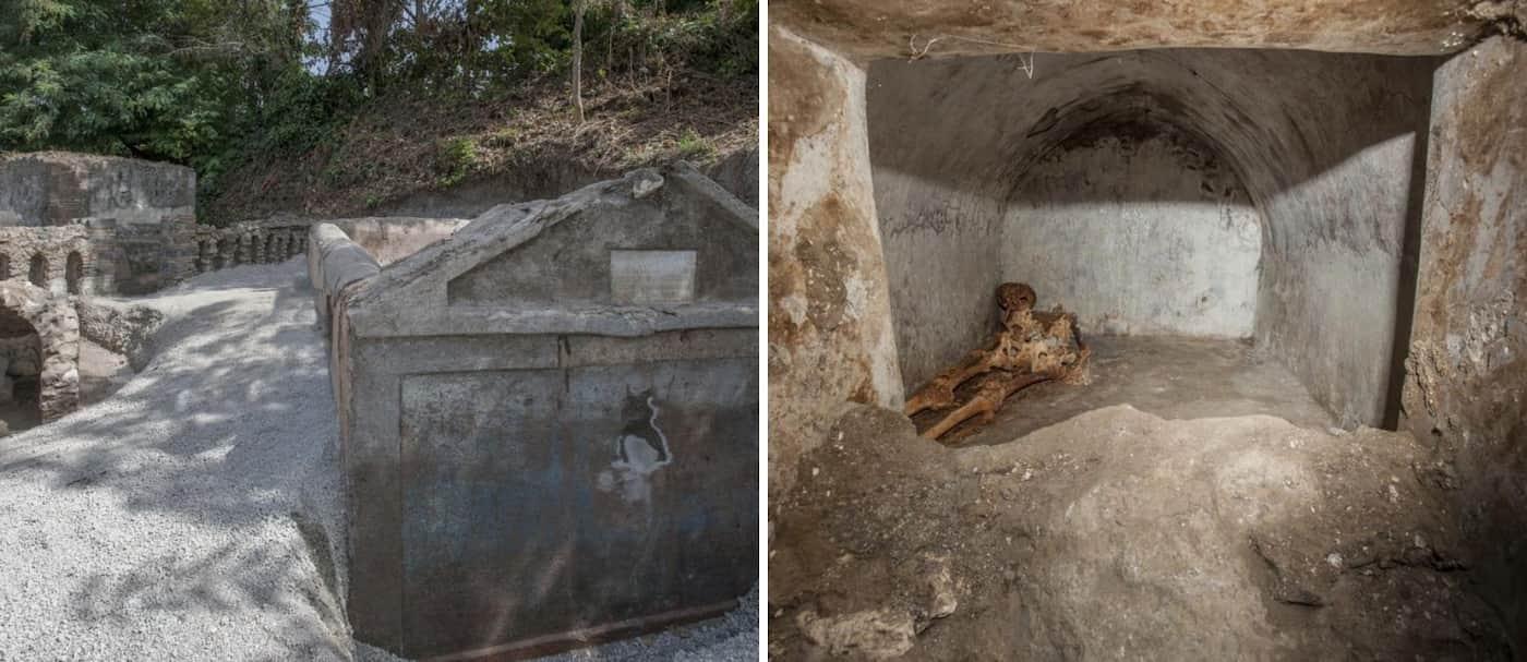 Encuentran una tumba con un cuerpo momificado en las ruinas de Pompeya