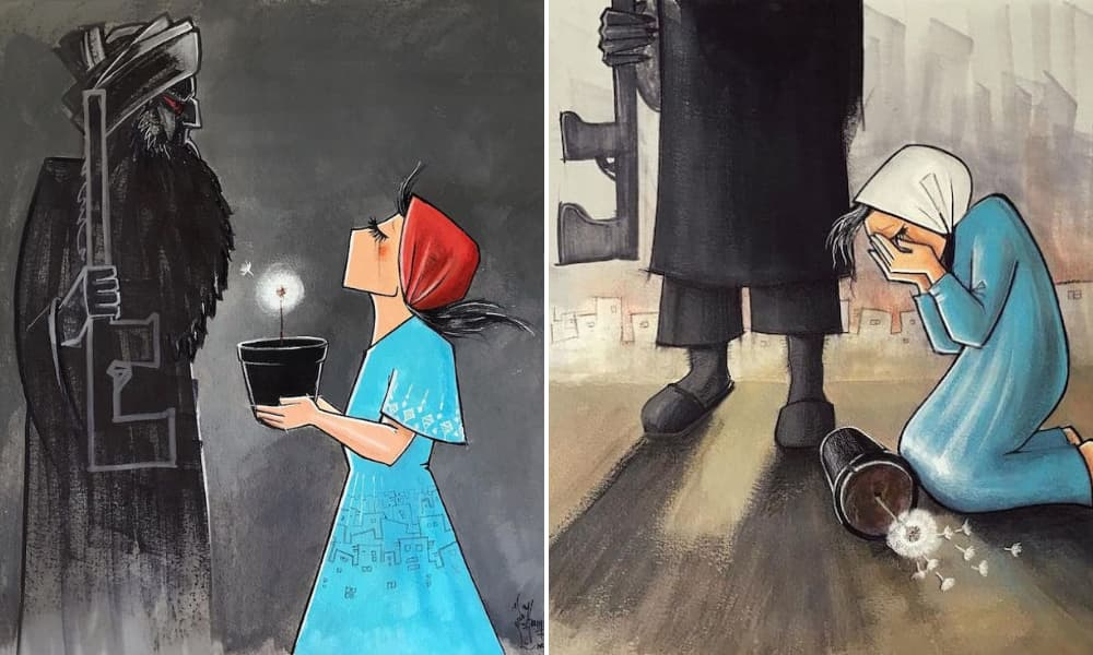 La primera artista urbana de Afganistán expresa su dolor hacia el destrato a las mujeres con piezas desgarradoras