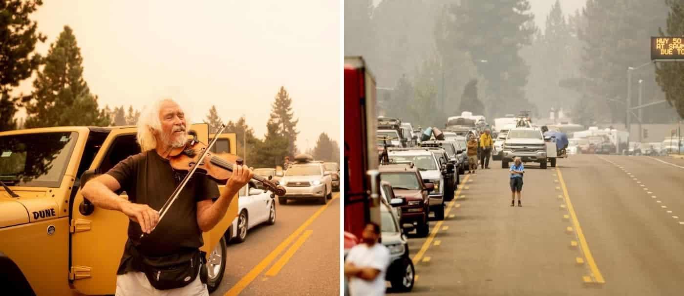 Un violinista se puso a tocar para las personas atascadas en el tráfico mientras evacuaban por los incendios