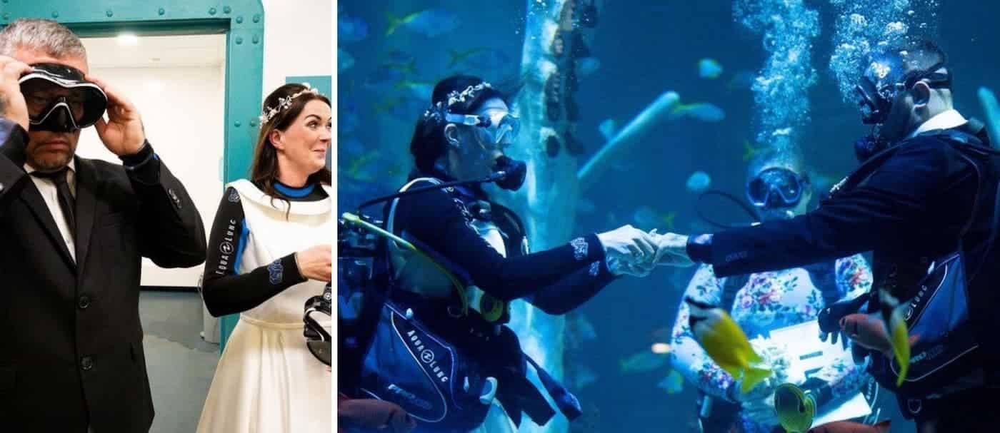 Una pareja de buzos decidió celebrar su boda bajo el agua en Reino Unido