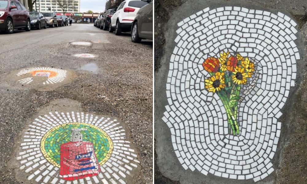 Artista urbano rellena huecos en pavimento, aceras y paredes de su ciudad con divertidos mosaicos-10