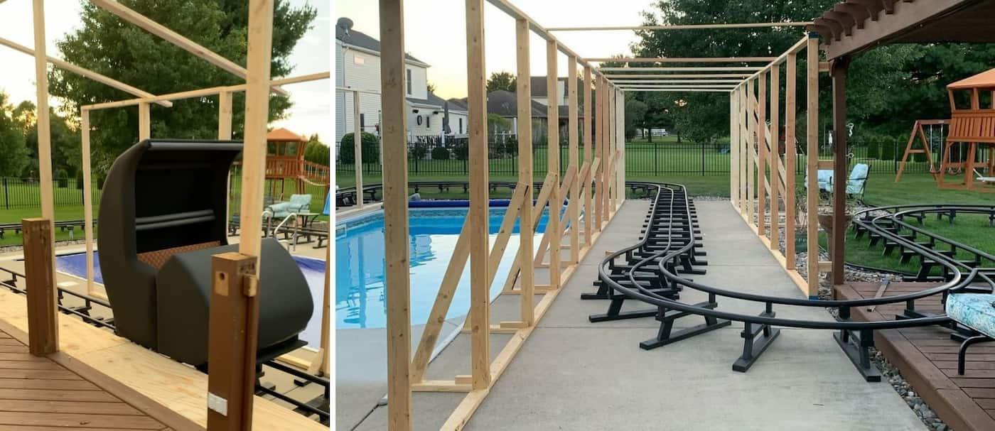 Un hombre construyó una montaña rusa embrujada en el patio de su casa