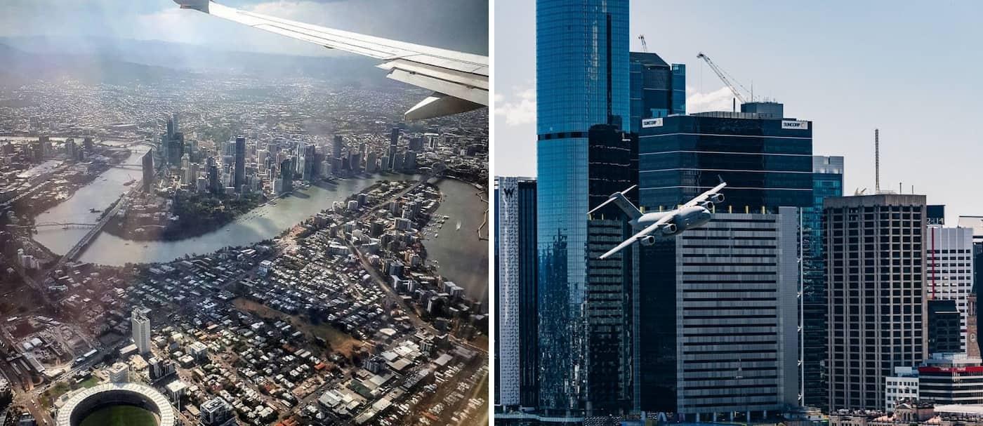 Un sorprendente video de un avión volando por Brisbane, Australia genera opiniones divididas