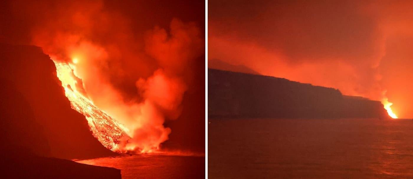 España: la lava del volcán de La Palma llegó al mar