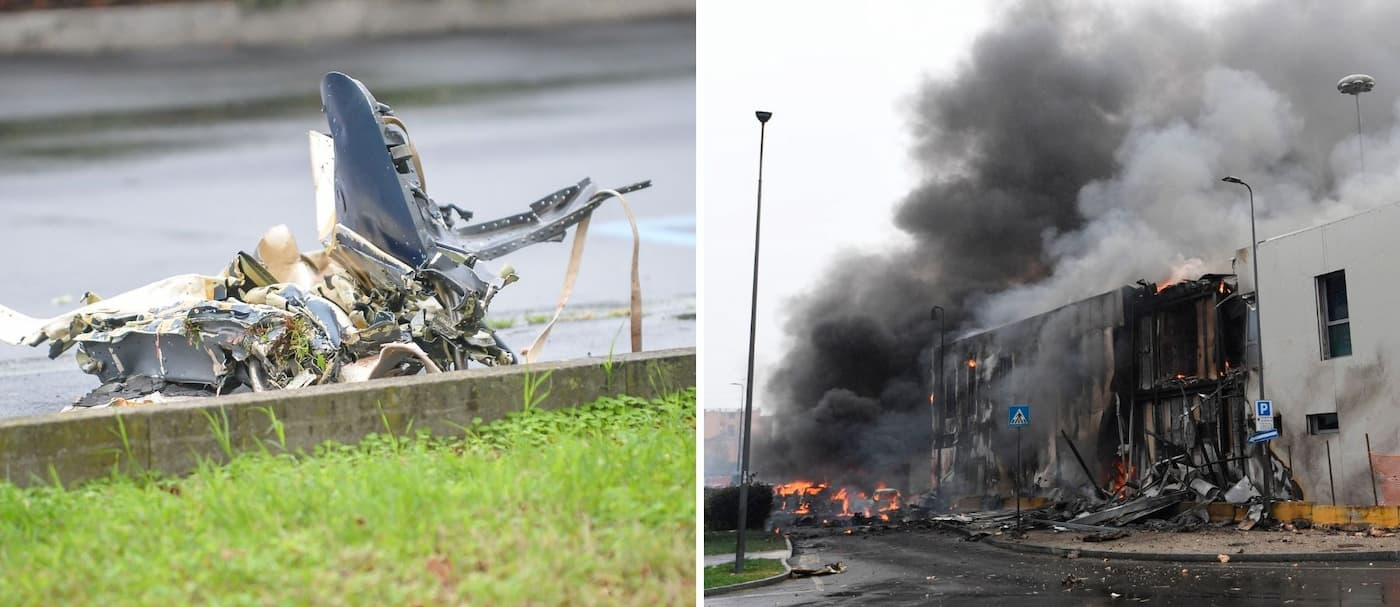 Un avión privado se estrelló contra un edificio vacío en las afueras de Milán, Italia