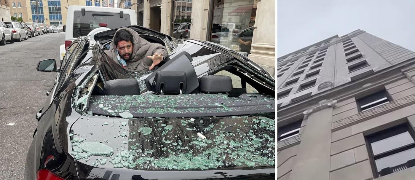 Un hombre cayó encima de un auto desde el noveno piso y sobrevivió