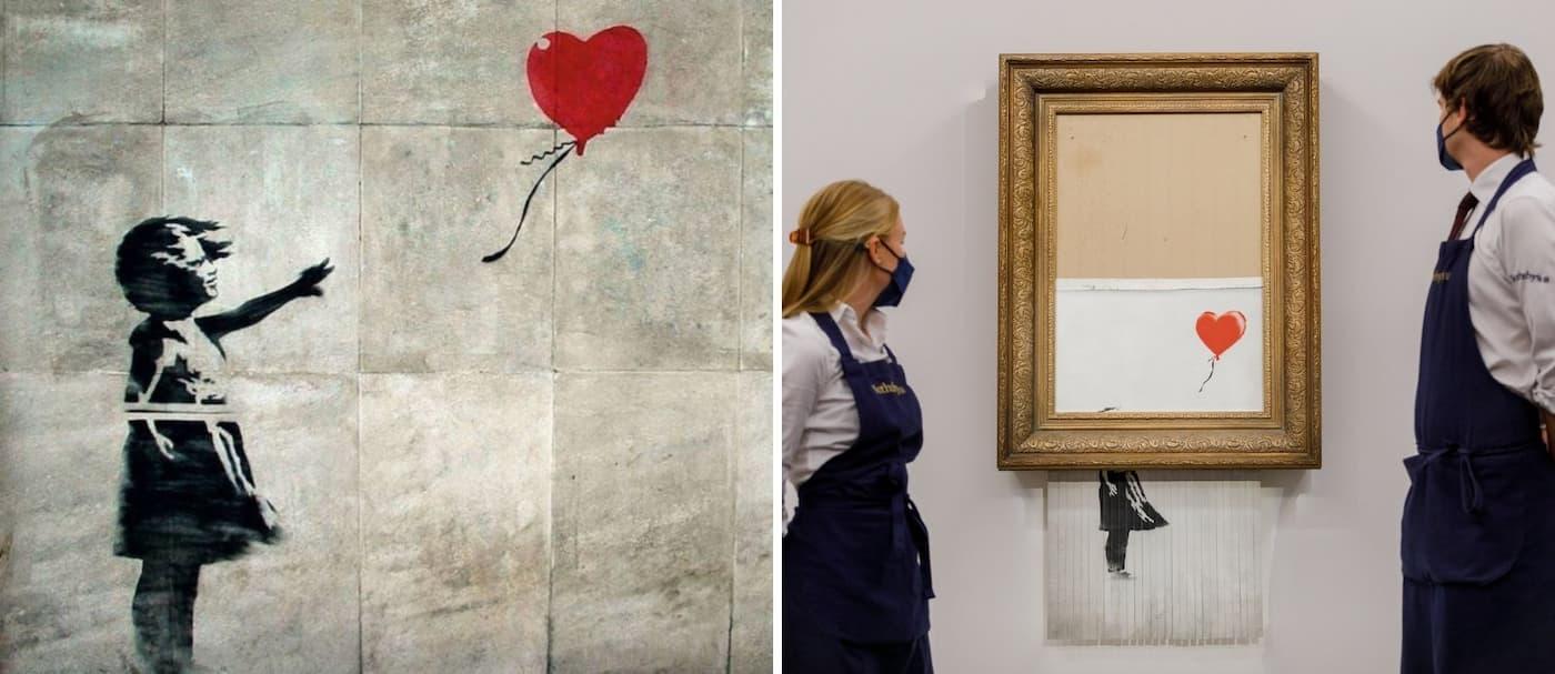 Una icónica obra de Banksy rompió récord de venta en una subasta
