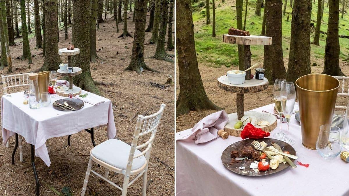 Una mesa con un 'té para dos' fue encontrado misteriosamente abandonado en el medio del bosque