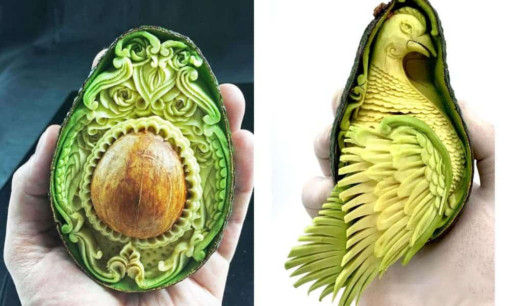 Este artista italiano convierte los aguacates en obras maestras tras tallarlos con diferentes formas-1